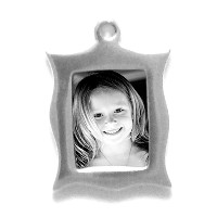 "Charm_K_09, $42.00<br /> Your photo is reproduced and sealed making the charm waterproof, fadeproof & scratch resistant. Measures 3/8"" x 1/2"".   Solid Sterling Silver."