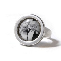 Ring_K_04, $95.00<br /> Solid Sterling silver ring. Sizes 5,6,7. Photo size approx 1/2 inch round.  Your photo is reproduced and sealed making the photo waterproof, fadeproof & scratch resistant.