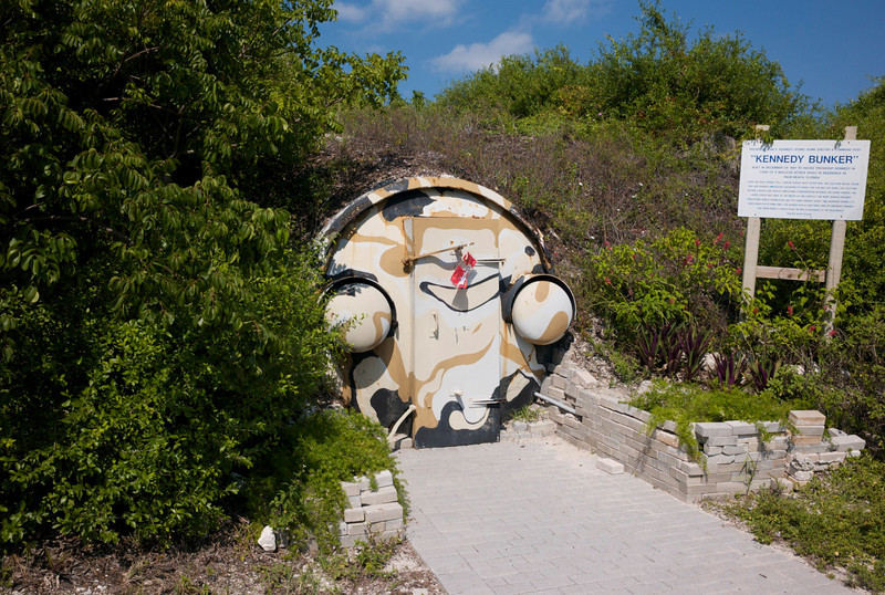"Entrance to the Kennedy Bunker, Peanut Island, Palm Beach, Florida.<br /> In 1962 the Navy Seabees constructed this bunker as a fallout shelter for the use of JFK in case of a Nuclear attack while Kennedy was at the ""Winter White House"" in Palm Beach.  As it was impossible to build a shelter in secret in Palm Beach, the shelter was constructed on a small island in the Lake Worth Inlet to the Port of Palm Beach, home of the USCG rescue station."