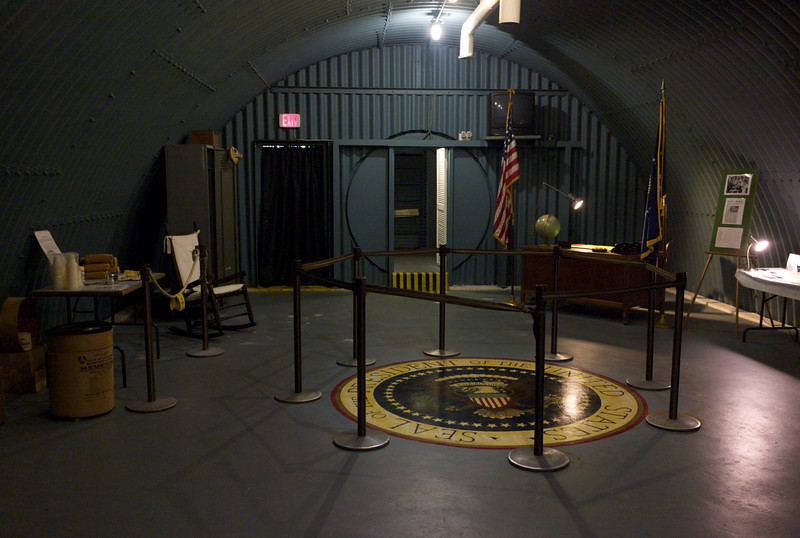 """Main chamber looking towards entrance, Presidential """"office"""" on the right."""