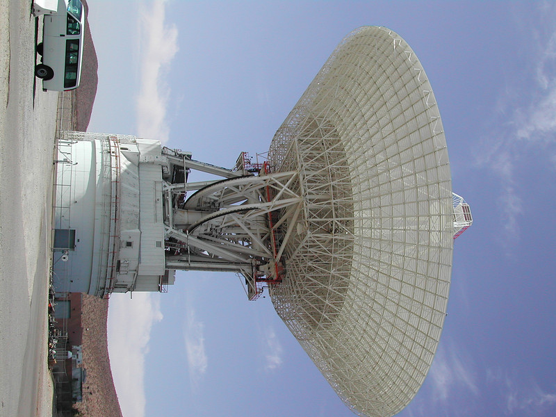Goldstone CA DSS-14 <br /> We basically use another dish in the area to transmit radio waves at some celestial body.  It could be a planet like Mars (we helped scout the landing spot for the two latest rovers!), or an asteroid, etc.  We then use this dish to catch the