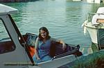 Jackie, Sonning, on board honeymoon boat, June 1976
