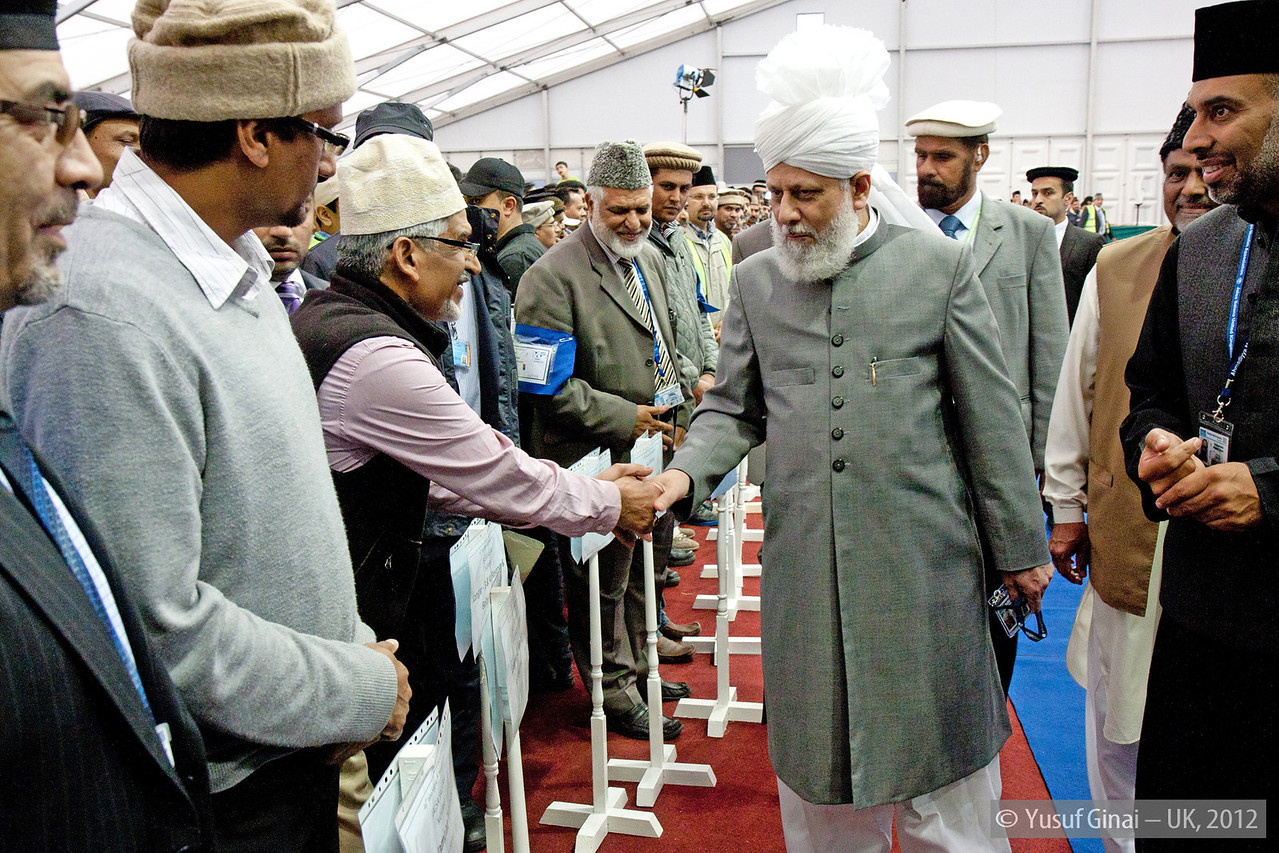 Hudhur Aqdas (atba) meeting some of the heads of various sections