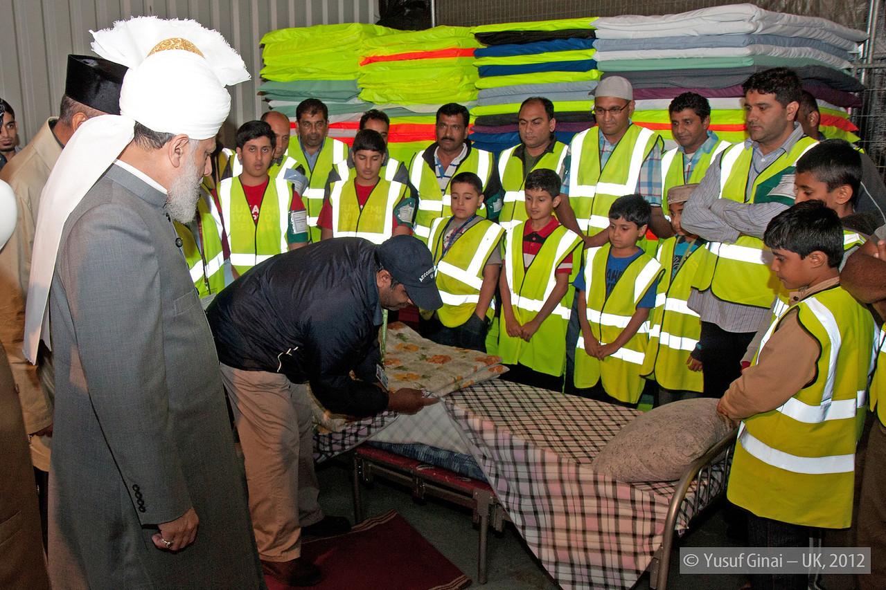 Hudhur Aqdas (atba) at the inspection at Hadeeqatul Mahdi.