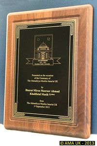 IA6_8292 Presentaion plaque that was presented to Huzoor marking the Centenary of the Ahmadiyya Muslim Jama'at in the UK