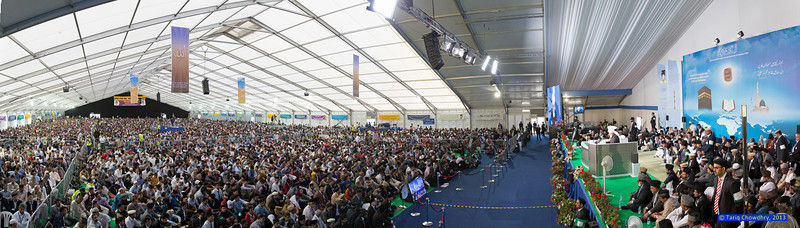 Jalsa Salana Day 3_TCho--2 High rise panoramic of inside the Jalsa Gah during one of Huzur's speeches.
