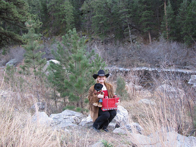 "This was taken on our ""birthday-anniversary"" weekend - here I am at Big Thompson River proudly displaying my new western teddy and red/turquoise bag - I guess I do have a little western cowgirl in me!"