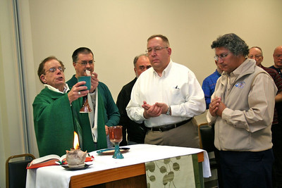 Fr. Bob Tucker, main celebrant at Wednesday's mass, along with cup ministers Fr. Robb Naglich and Br. Clay Diaz.