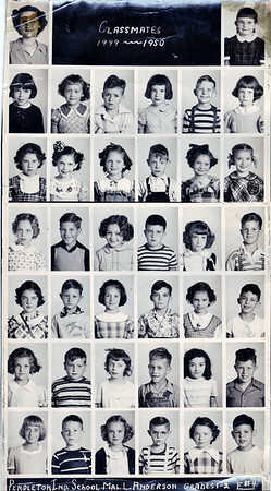 Pendleton Elementary School Classmates Photo that belonged to my mother..1949-1950 school year...She is the last one in the third row from top in Mrs. Anderson's class.  In the same row: Nancy Green, unknown boy, Joann Shirley, Karel Hendricks, and Ellen House. Row above: Jana Coryell, David Jeffrey, Sue Jones, Gorden Dowden, Ritia Amien, and Ann Philbert. Row below: Douglas Bradley, Candy Moreland, David Casterfield, ?, Don Hayes, ?.  5th:Joe Bolen, Janice Huntzinger, Ernest?, Judy Bell, David Owens, Sharon Morris. 6th: Monty Godbey, Carolyn Harless, Bruce Antabus?, ?, Bill Harvey, Martha Harris.  Bottom row: Anthony Williams, Conney Crosley, Terry Stevens, Linda Martin, Danny Fisher & Jannet Beaman<br /> <br /> Photographer's Name: Colleen Sanders Brown<br /> Photographer's City and State: Anderson, IN