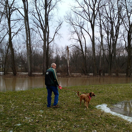 White River receding. Erv Rockhill and dog Millie in Park Place. <br /> <br /> Photographer's Name: Lois Rockhill<br /> Photographer's City and State: Anderson, IN