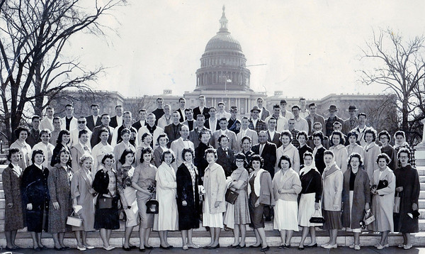 I found this photo in a scrapbook that had belonged to my mother...unfortunately the back was damaged and all names aren't readable but am able to make out quite a few!  This was the 1960 Pendleton Heights School Senior Class Trip to DC April 4-8 1960<br /> <br /> Photographer's Name:  <br /> Photographers City and Country: ,