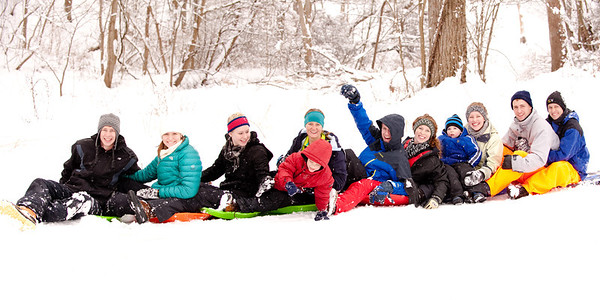 The sledding train.  Some of my kids and grandkids sledding at Edgwood Golf course.<br /> <br /> Photographer's Name: Terry Lynn Ayers<br /> Photographer's City and State: Anderson, Ind.
