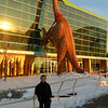 Ryan Long, 6,checking out the dinosaur in front of the Indianapolis Children's Museum.<br /> <br /> Photographer's Name: Carrie Long<br /> Photographer's City and State: Alexandria, Ind.