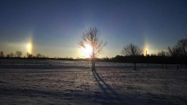 A sun dog along SR 32 in Madison County.<br /> <br /> Photographer's Name: Janet Burrows<br /> Photographer's City and State: Anderson, Ind.