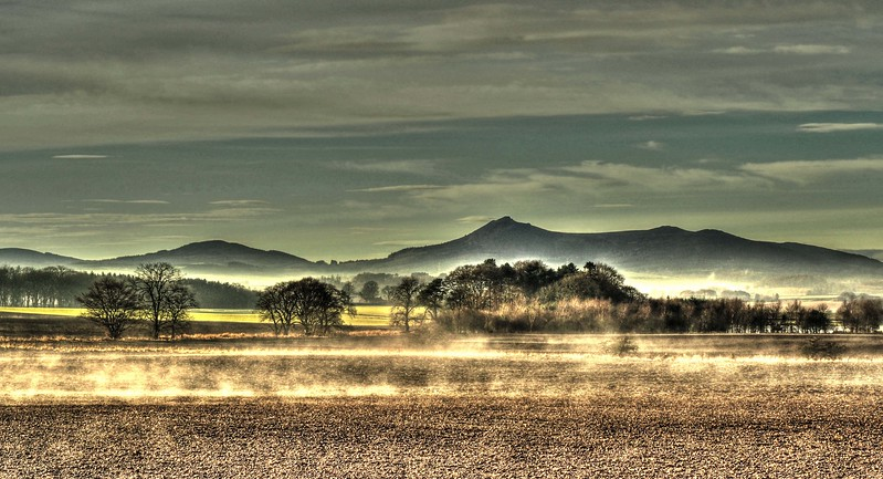 Mist rises from ploughed fields near Oldmeldrum