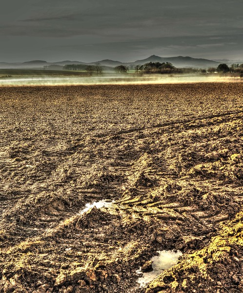 Bennachie beyond mist rising from ploughed fields near Oldmeldrum