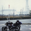 This is the port of Himeji. In early fall I had traded in the Yamaha for this used Suzuki GS 400, a part of the popular Katana redesign. It was a steady, reliable, unremarkable, undemanding bike that took me over 13,000 miles in Japan before being stolen in Ashiya City (outside Kobe) in May of 1987.