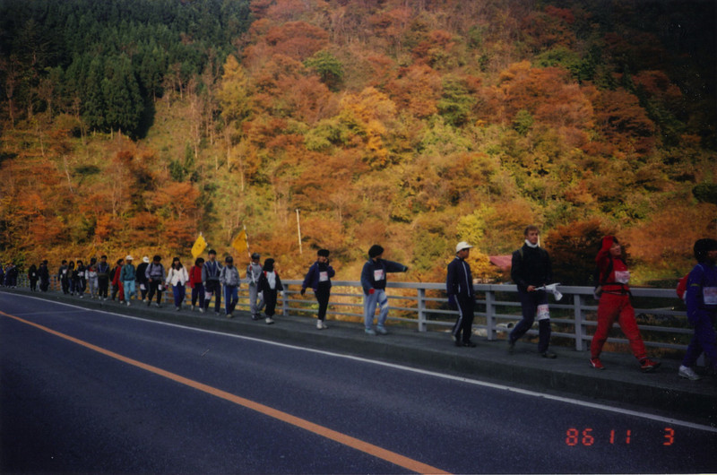 I volunteered to participate as a chaperone in a 100k walk for middle schoolers, from Morioka City to Miyako City. It took 3 days. The kids were terrific troopers. You can see some of the fall colors here.