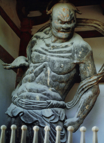 Ungyo, the Guardian King of the East, at Horyu-ji. How cool is he...? He started out painted brilliant colors, but even faded, this centuries-old statue ripples power.