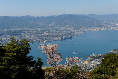 Vue du Mont Minsen, île de Miyajima, Japon, avril 2014.