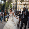 Bride and groom entering the Jardin du Luxembourg