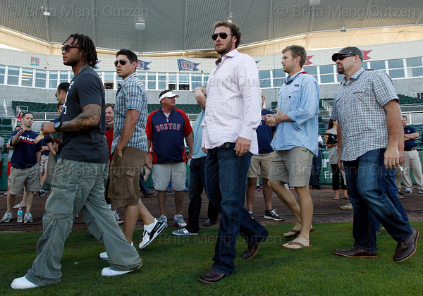 FORT MYERS, FL, March 1, 2012: From left, Boston Red Sox players  Darnell McDonald, Jacoby Ellsbury, Jarrod Saltalamacchia, Daniel Bard and Kevin Youkilis walk onto the JetBlue Park field to attend the retirement announcement of former teammate Jason Varitek after 15 Major League seasons with the Red Sox. (Brita Meng Outzen/Boston Red Sox)