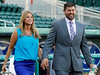 FORT MYERS, FL, March 1, 2012: Boston Red Sox catcher Jason Varitek, right, and wife Catherine walk onto the JetBlue Park field for his retirement announcement. (Brita Meng Outzen/Boston Red Sox)