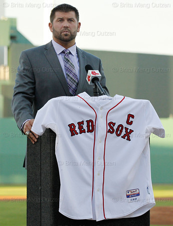 FORT MYERS, FL, March 1, 2012: Boston Red Sox catcher Jason Varitek listens to a question from the media as he announces his retirement from baseball after 15 Major League seasons with the Red Sox. (Brita Meng Outzen/Boston Red Sox)