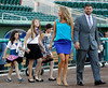 FORT MYERS, FL, March 1, 2012: From right, Boston Red Sox catcher Jason Varitek, wife Catherine, and his three daughters, Kendall, Alexandra and Caroline walk onto the field at JetBlue Park prior to Varitek's retirement announcement. (Brita Meng Outzen/Boston Red Sox)