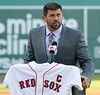 FORT MYERS, FL, March 1, 2012: Boston Red Sox catcher and captain Jason Varitek announces his retirement from baseball after 15 Major League seasons with the Red Sox. (Brita Meng Outzen/Boston Red Sox)