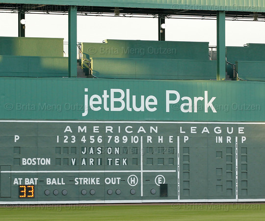 FORT MYERS, FL, March 1, 2012: The scoreboard on the Green Monster at JetBlue Park at Fenway South displays the name and number of retiring Boston Red Sox catcher Jason Varitek. (Brita Meng Outzen/Boston Red Sox)