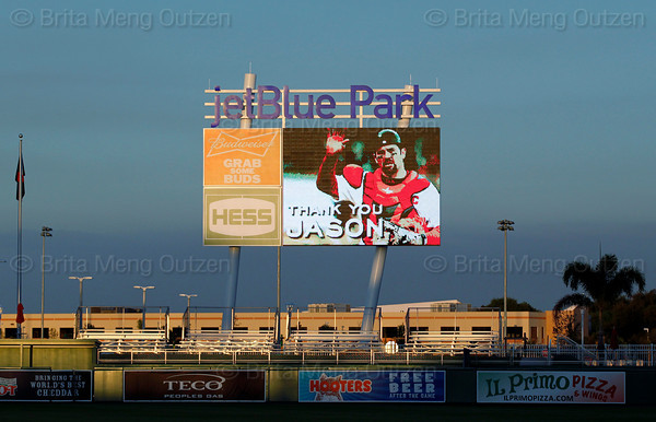 FORT MYERS, FL, March 1, 2012: The videoboard in center field at JetBlue Park displays a tribute to retired Boston Red Sox catcher Jason Varitek on the occasion of his retirement from Major League Baseball. (Brita Meng Outzen/Boston Red Sox)