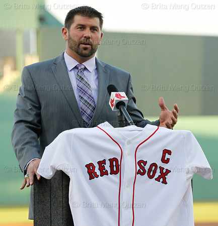 FORT MYERS, FL, March 1, 2012: Boston Red Sox catcher Jason Varitek announces his retirement from baseball after 15 Major League seasons with the Red Sox. (Brita Meng Outzen/Boston Red Sox)