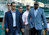 FORT MYERS, FL, March 1, 2012: From left, Boston Red Sox players  John Lackey, Tim Wakefield, Ryan Lavarnway, Josh Beckett and David Ortiz walk onto the JetBlue Park field to attend the retirement announcement of former teammate Jason Varitek after 15 Major League seasons with the Red Sox. (Brita Meng Outzen/Boston Red Sox)