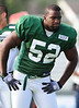 August 6, 2010: Cortland, NY: USA:  New York Jets linebacker David Harris during training camp at SUNY Cortland. Photo credit-Rich Barnes