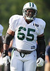 August 6, 2010: Cortland, NY: USA:  New York Jets lineman Brandon Moore during training camp at SUNY Cortland. Photo credit-Rich Barnes