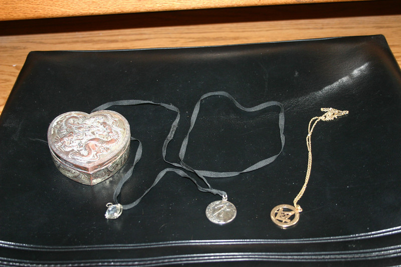 """The Masonic medallion is inscribed from """"Sarah to Herb 1920."""""""