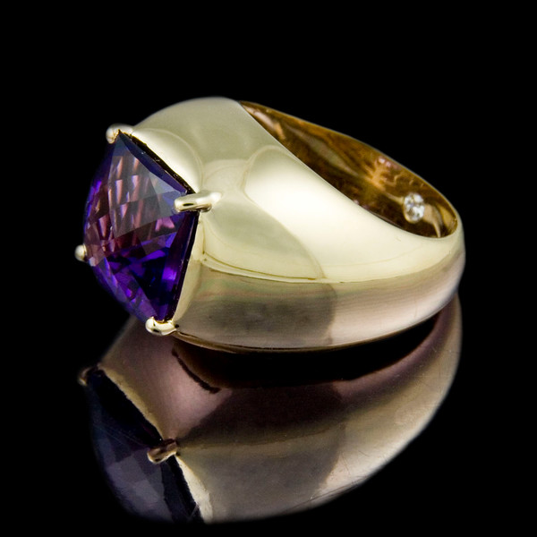 "Amethyst ""Bombe"" Cocktail Ring - side<br /> <br /> Amethyst and 18ct yellow gold ""Bombe"" Cocktail Ring I photographed for the website, brochure and portfolio."