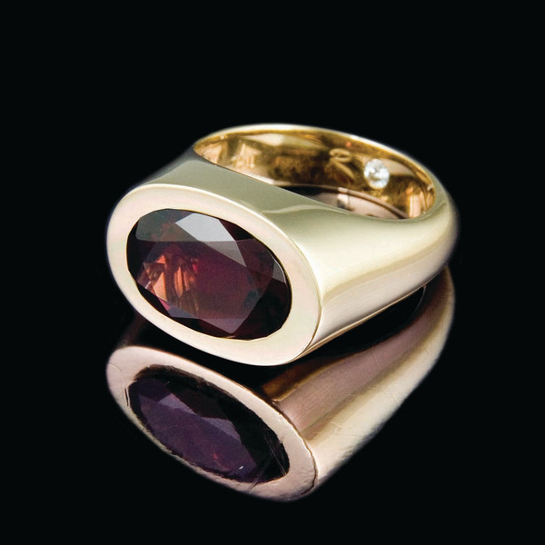 'Lozenge' ring with Garnet<br /> <br /> Cocktail ring I snapped for our company brochure and Rumour Jewellery