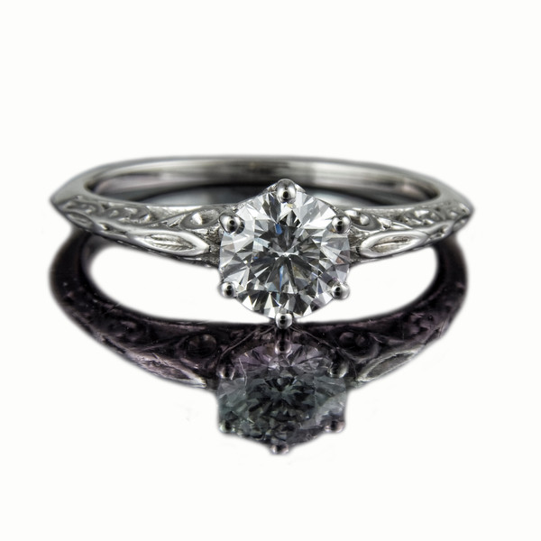 """Diamond Engagement Ring """"Victoriana""""<br /> <br /> 0.71ct D coloured VS1 (excellent cut) brilliant cut  diamond ring in a Victorian style carved platinum setting designed for a client at Rumour Jewellery and photographed for Rumour's bespoke jewellery portfolio and website."""
