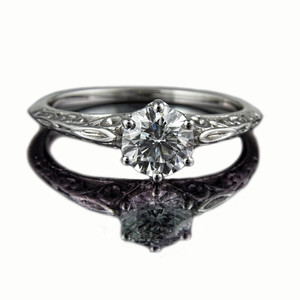 "Diamond Engagement Ring ""Victoriana""  0.71ct D coloured VS1 (excellent cut) brilliant cut  diamond ring in a Victorian style carved platinum setting designed for a client at Rumour Jewellery and photographed for Rumour's bespoke jewellery portfolio and website."