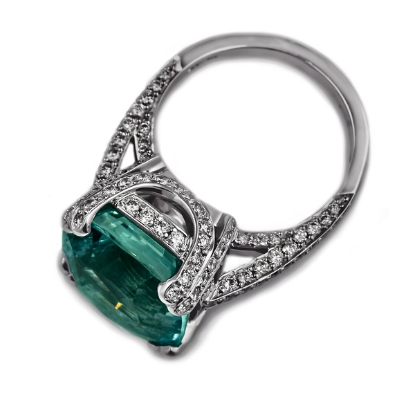 """""""Santa Maria"""" Cushion cut aquamarine ring<br /> <br /> 9.8ct Cushion cut aquamarine with 1.60ct brilliant cut pave set diamonds.<br /> <br /> Perfect jewellery in this 18ct white gold engagement ring using a wonderful 14 x 12mm aquamarine and G/ VS diamonds<br /> <br /> Photographed for website and portfolio"""