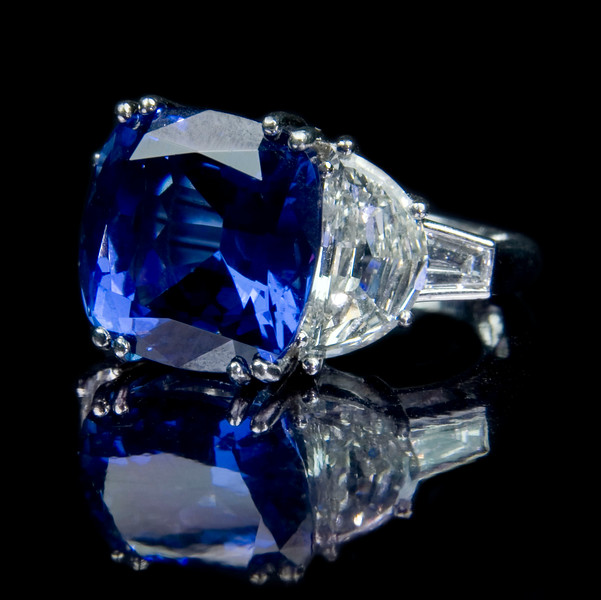 """Tanzanite and diamond engagement ring<br /> <br /> A monster 10.5ct tanzanite and with 3cts of diamonds engagement ring I snapped for our bespoke jewellery portfolio and website. Not to be worn without """"security"""" being with you!"""