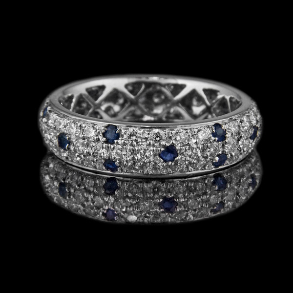 Sapphire-diamond pave Eternity Ring<br /> <br /> The perfect eternity ring pave set diamonds and sapphires set in platinum. For a Rumour Jewellery client