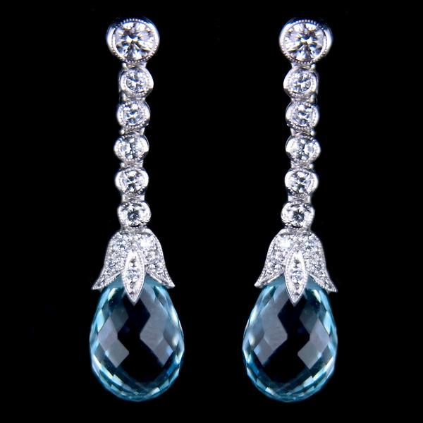 Brilliant cut diamond earrings with aquamarine briolettes