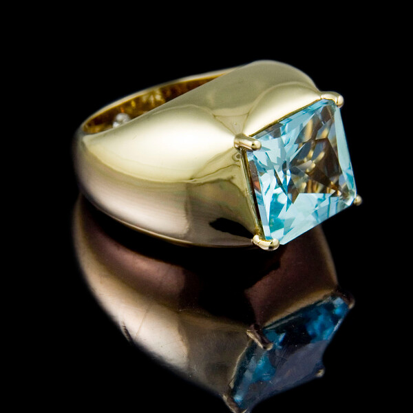 "Aquamarine Bombe Cocktail Ring<br /> <br /> Aquamarine and 18ct yellow gold ""Bombe"" Cocktail Ring I photographed for the Rumour website, brochure and portfolio."