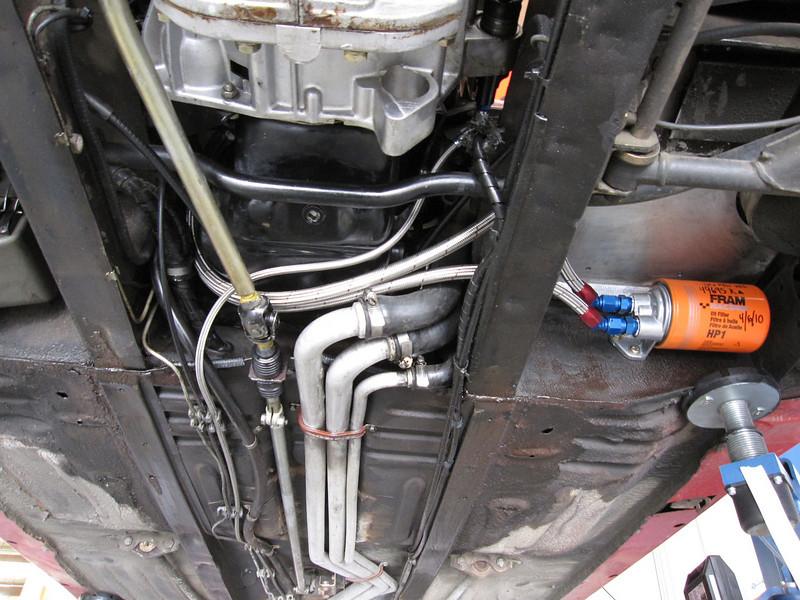 Under car of remote oil filter.