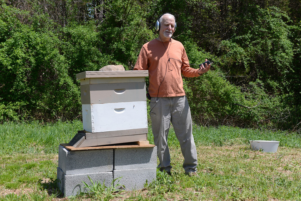 . Tania Barricklo-Daily Freeman Jim Metzner uses a contact microphone, or transducer which uses vibration,  on his beehive to listen to his bees wortking inside.