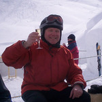 <center>Having champagne while skiing in Zermatt, home of the Matterhorn</center>