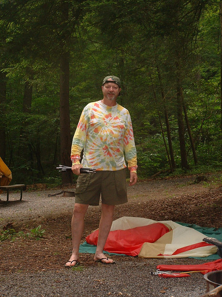 No, not old hippie-just trying to coordinate my wardrobe with my tent.